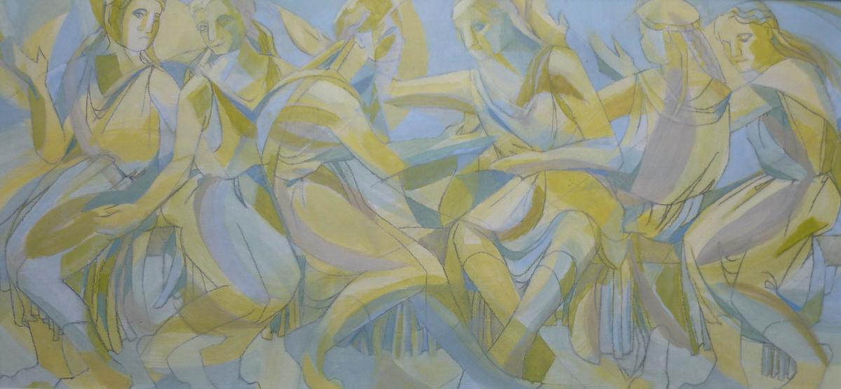 """""""Caryatids in Spring"""" (acrylic): inspired by Greek cafes in spring, Greek friezes and part of my """"identity"""" series"""