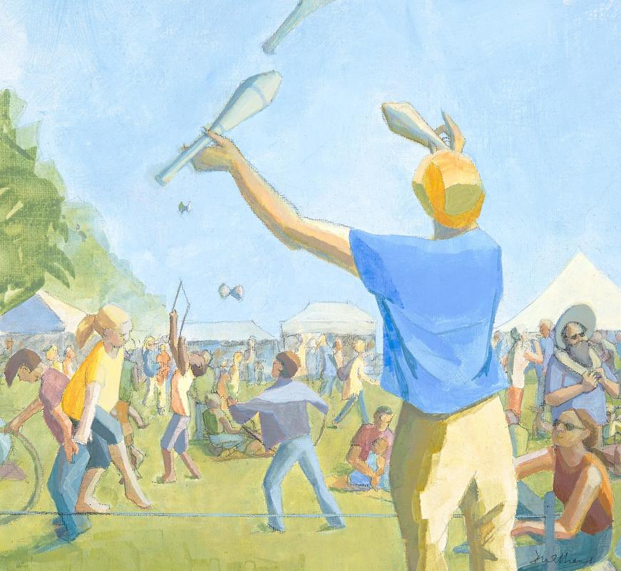 """""""Fun Day: Jugglers"""" (acrylic). West Oxford Funday in July"""