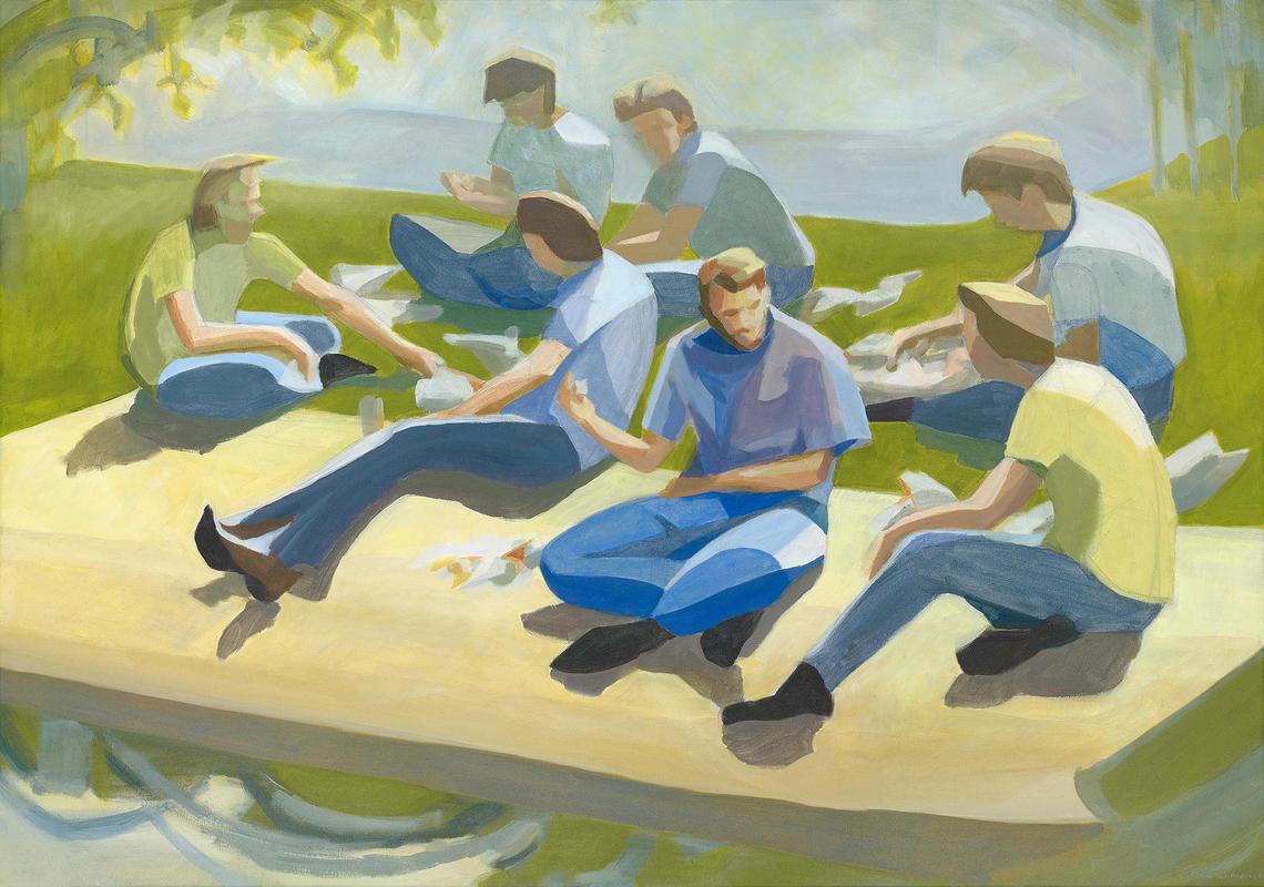 """Osney Picnic"" (acrylic): an impromptu picnic; ""community"""