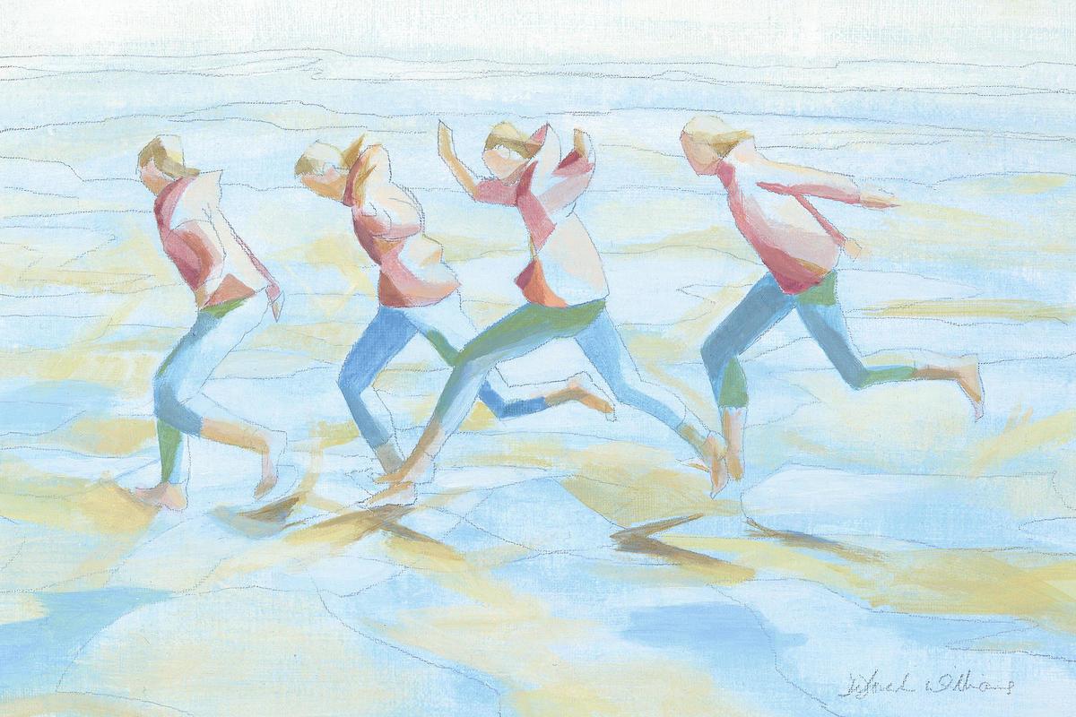 """Pond Jumping"" (acrylic): memories of Cornish beaches"