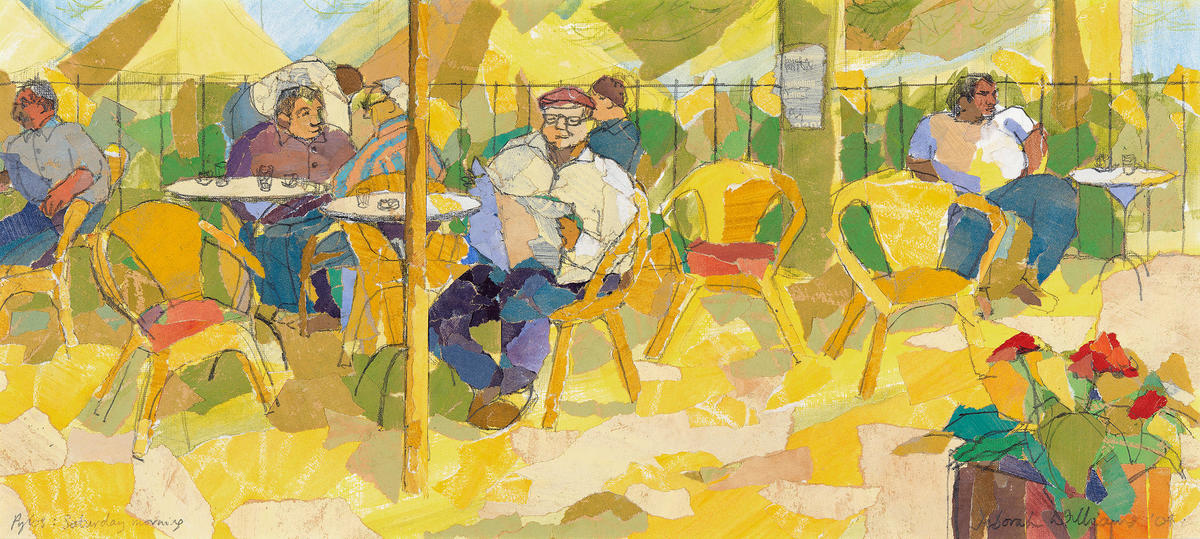 """""""Pylos: Saturday morning"""" (collage): Greek cafe in Spring"""