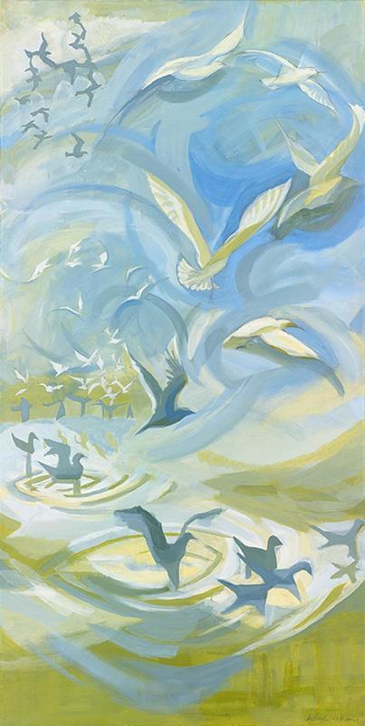"""""""Sky Water Earth"""" (acrylic): bird and floods"""