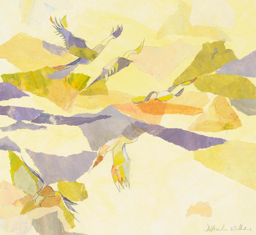 """Sunset Flight"" (mixed media)"