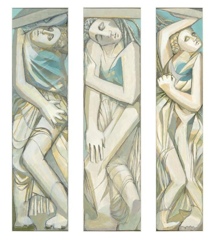 """""""Three Caryatids"""" (acrylic): inspired by Greek sculpture and the theme of """"identity"""""""