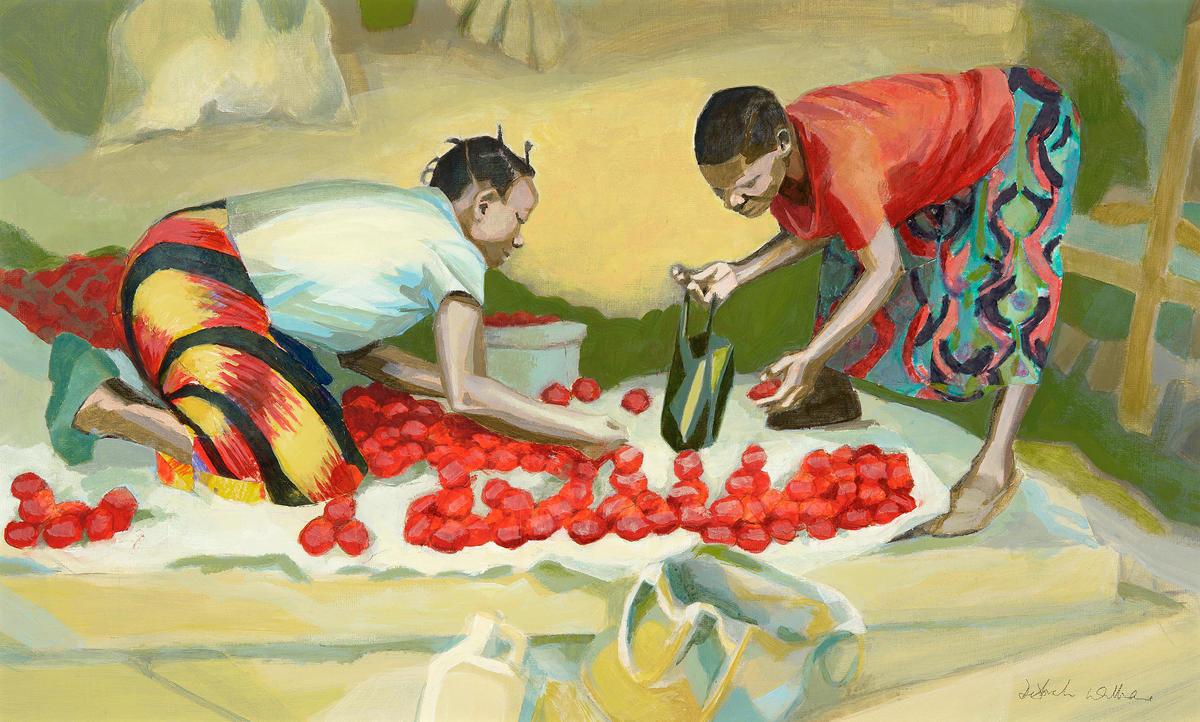 """""""Tomato buying"""" (acrylic), Blantyre Market, Malawi"""