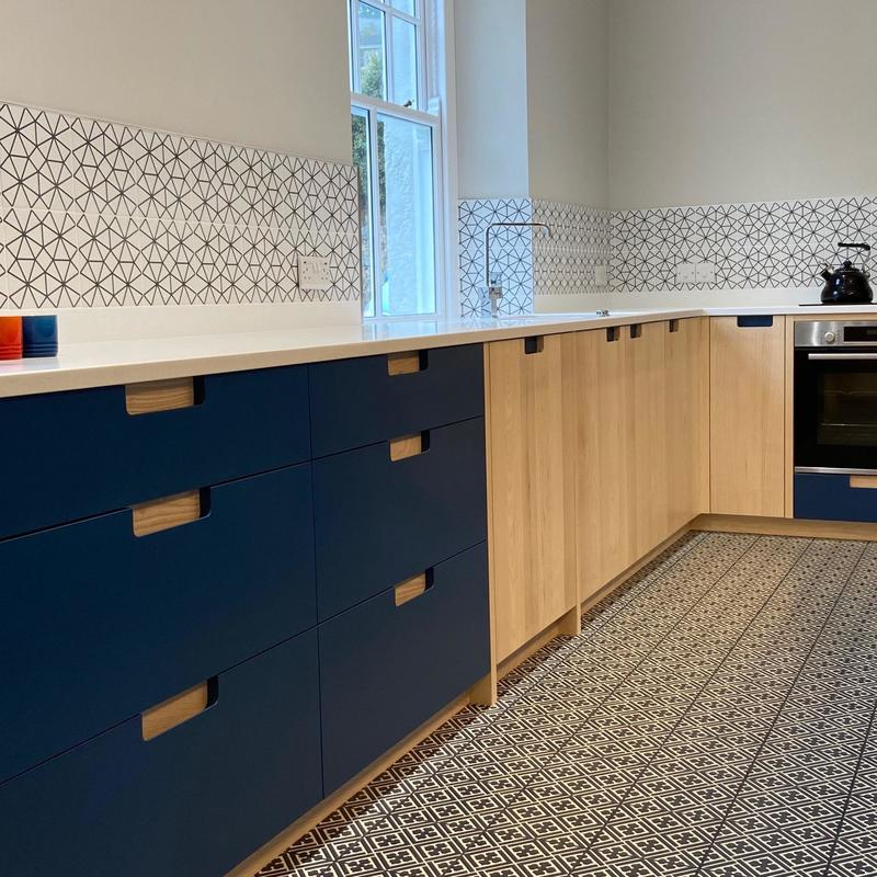 Kitchen in Ash and Blue