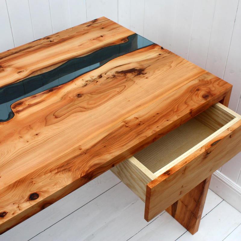 Yew and Glass Desk
