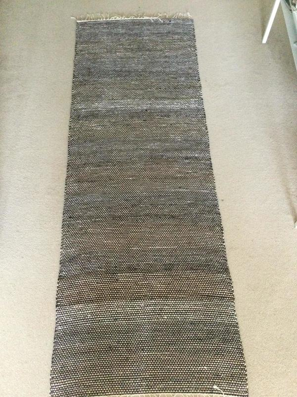 Brown/Navy/Beige hall rug ca 70cm x 210 cm (incl. fringe) £75 - very forgiving colour combination
