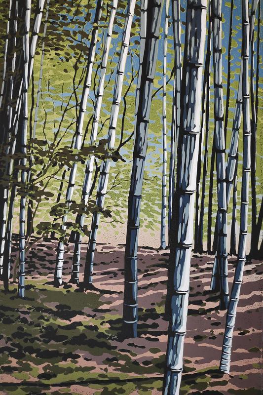 Bamboo Shade, linocut by Alexandra Buckle
