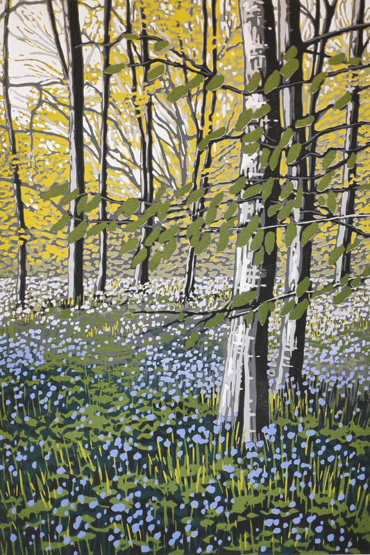 Bluebell Solitude, linocut by Alexandra Buckle