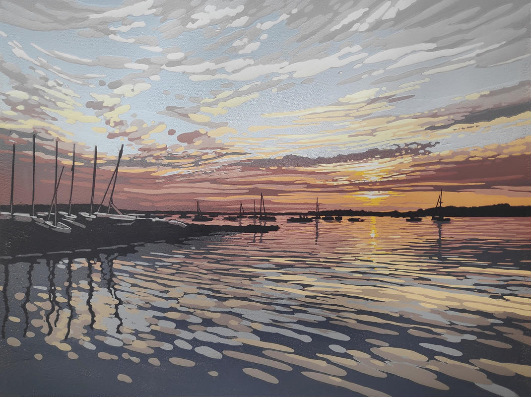 Quay Sunset, linocut by Alexandra Buckle SOLD OUT