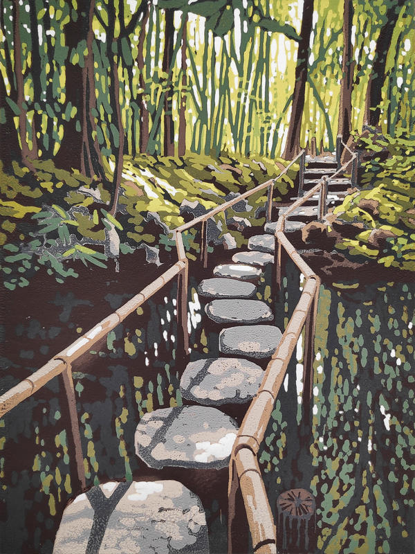 Stepping Stones, linocut by Alexandra Buckle