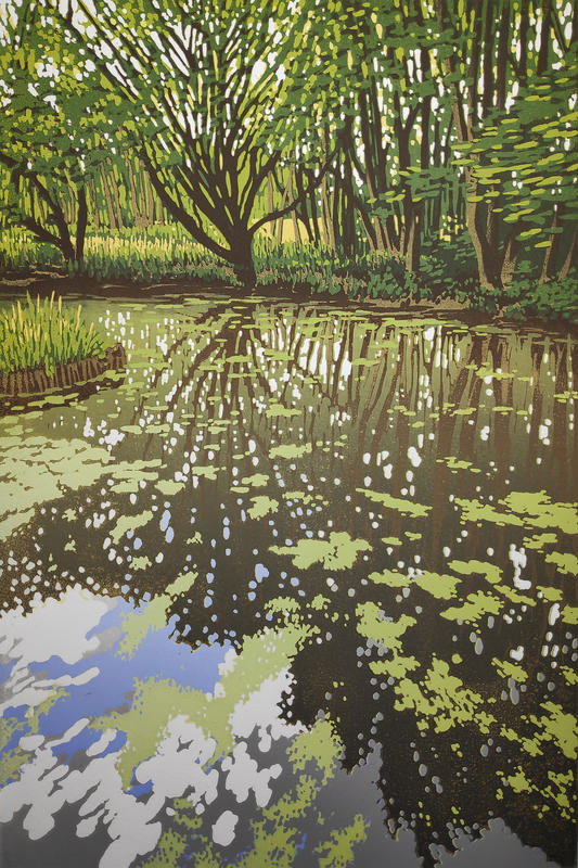 Summer Woodland Pond, linocut by Alexandra Buckle