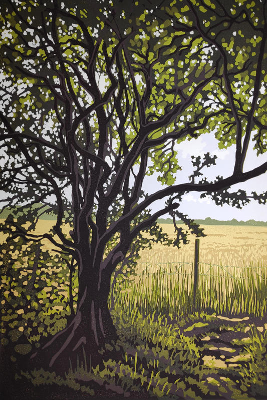 Woodland Edge, linocut by Alexandra Buckle