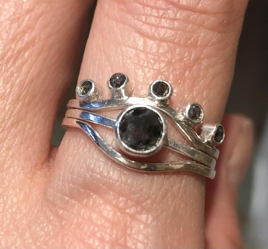 Sterling Silver with Salt & Pepper Diamond solitaire and nesting rings