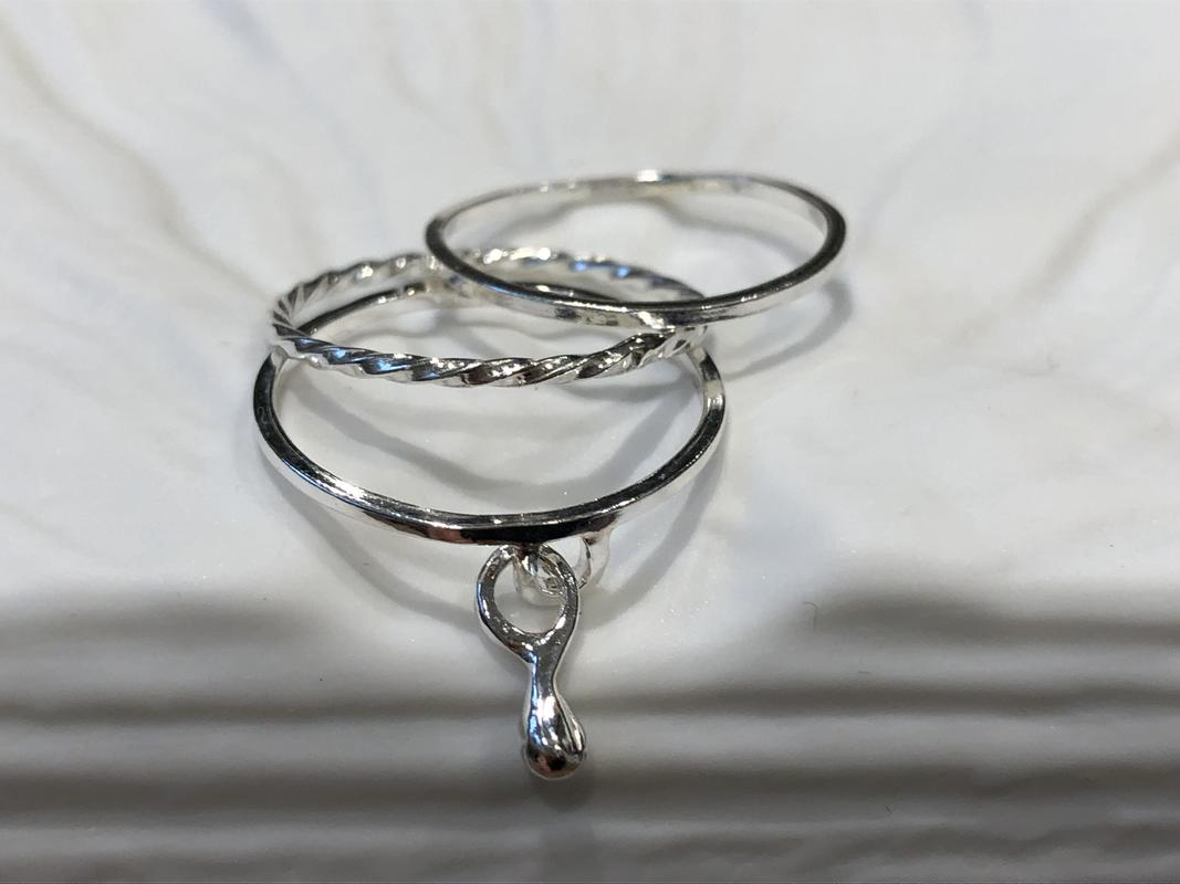 Sterling silver droplet stacking rings