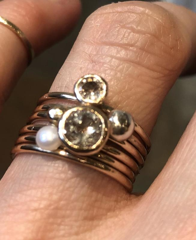 Topaz, Tourmaline, white pearl and gold granule stacking rings