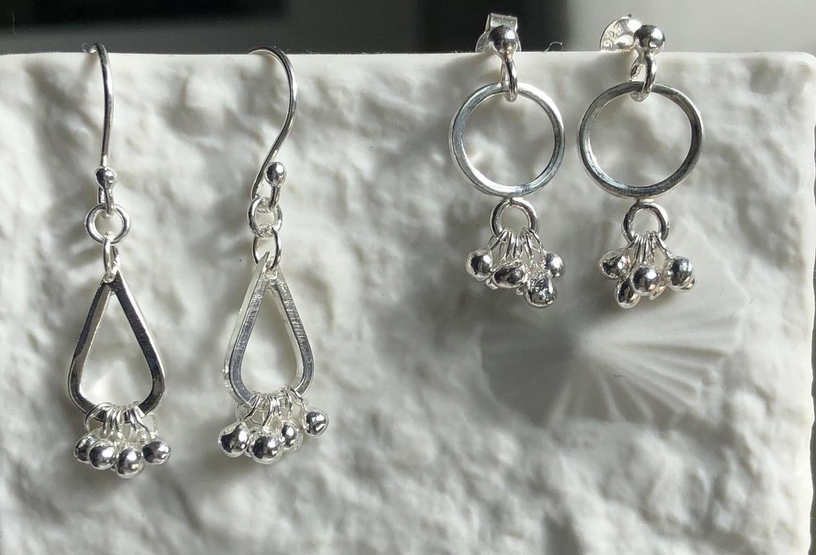 Sterling silver granulated droplets drop earrings