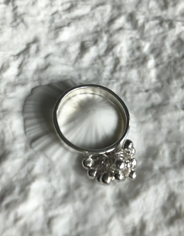 Sterling silver granulated droplets cocktail ring