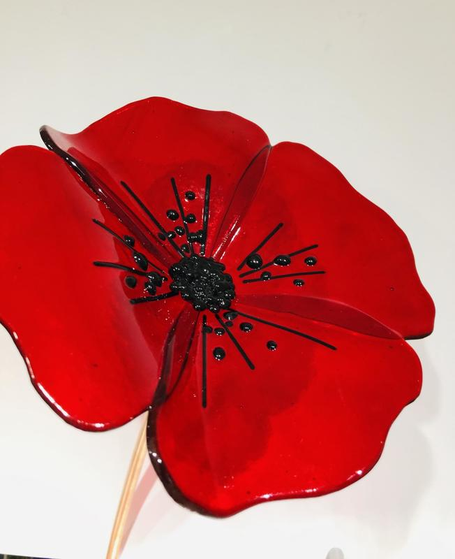 Red glass poppy - garden art £50.00
