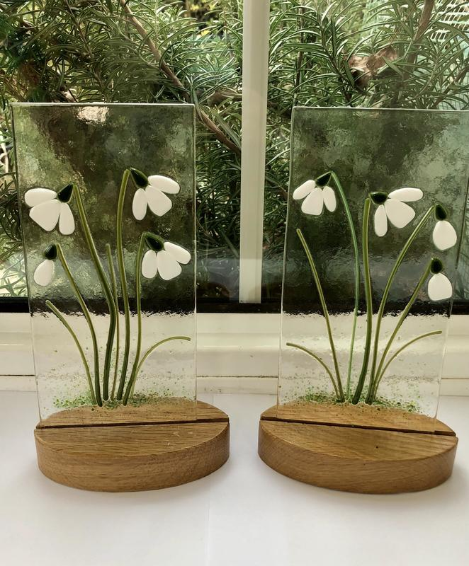 Snow drops in wooden stands approx 10cm x 20cm plus stand £30 each