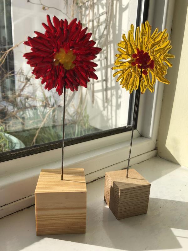Flowers in wooden blocks £25 each