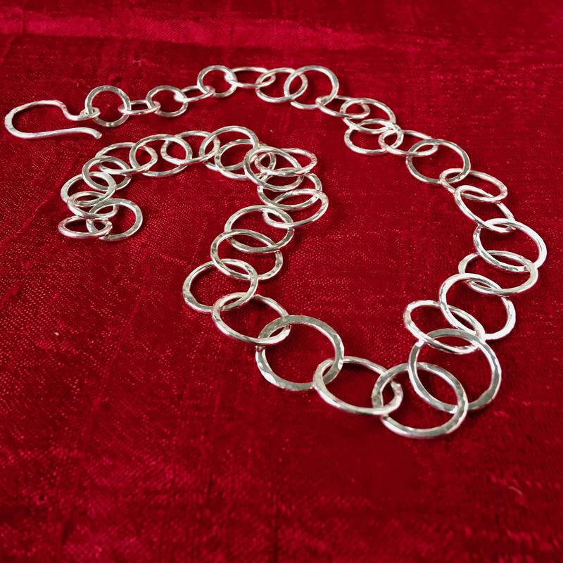 Hammered silver necklace £125