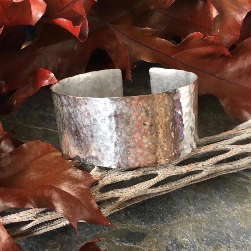 Hammered silver cuff bracelet, small-medium £85