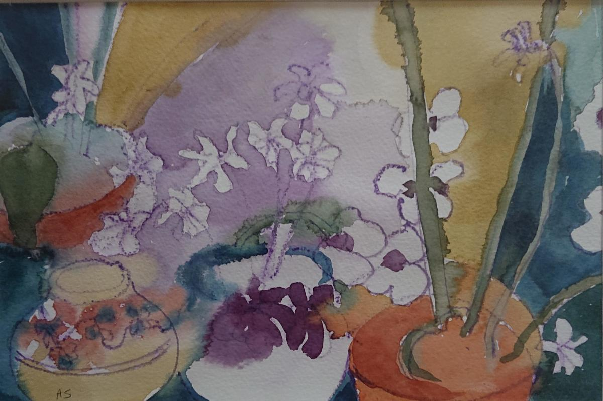 Pots and orchids 36 x 44cm framed £110.00