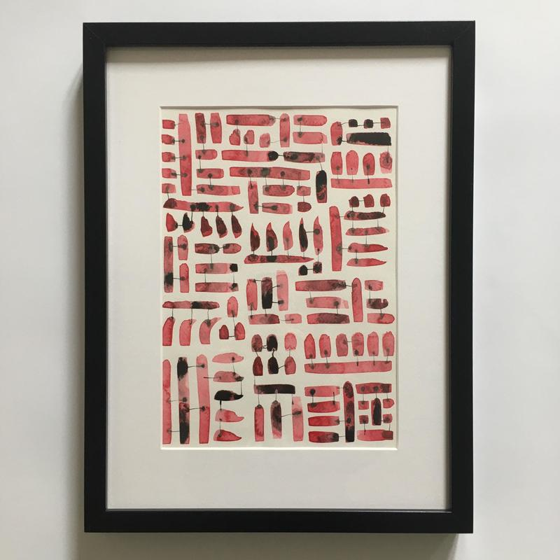 Indian ink & watercolour red, 2018