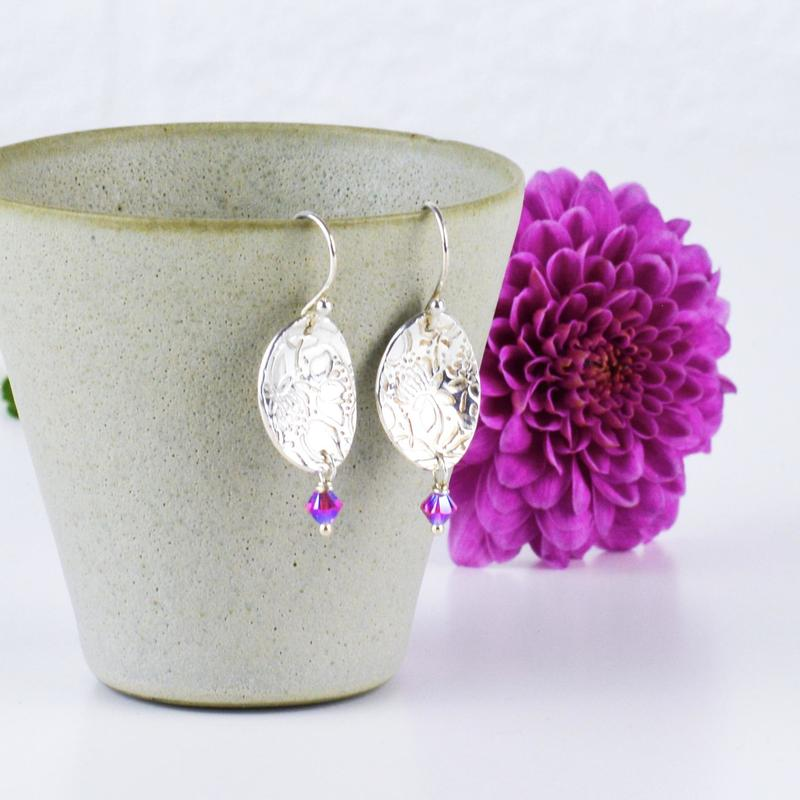Silver Arbor Lace Earrings with Swarovski Crystal