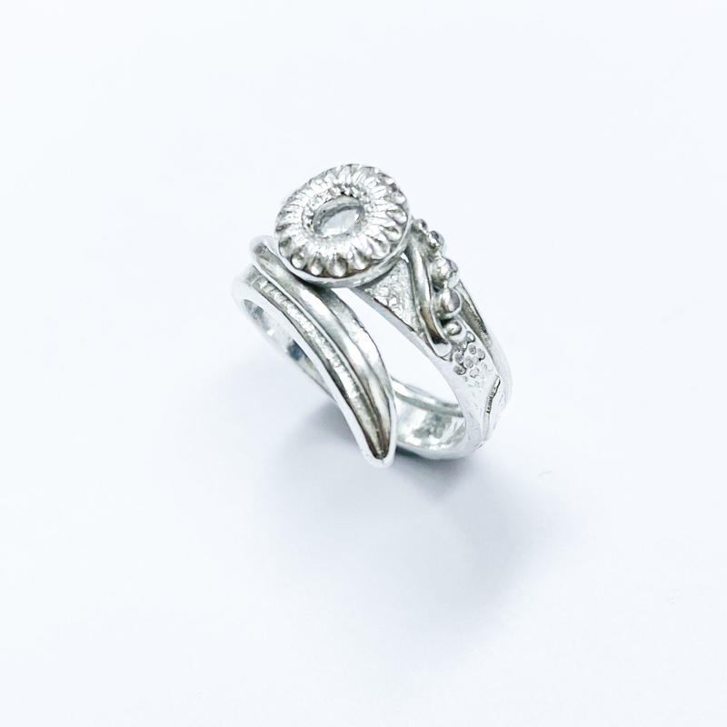 Sterling Silver Bypass Ring with Cubic Zirconia