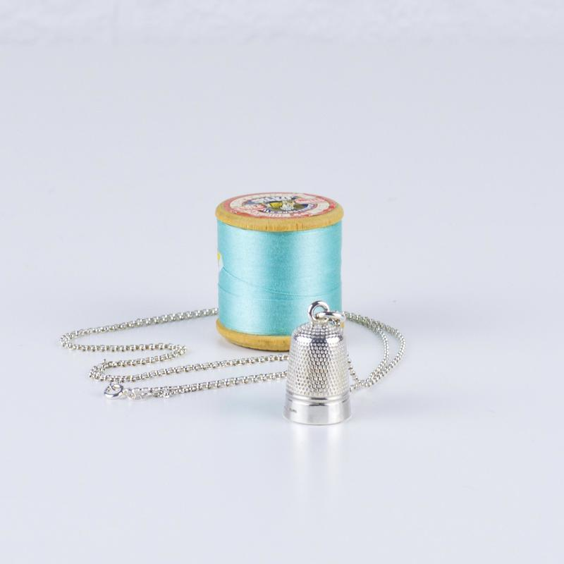 Sterling Silver Thimble Necklace - Life Size