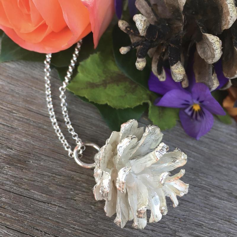 Sterling Silver Pine Cone Necklace - Life Size