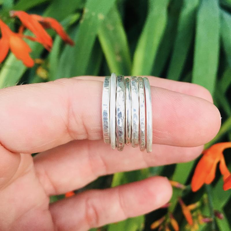 Textured Sterling Silver Stacking Rings