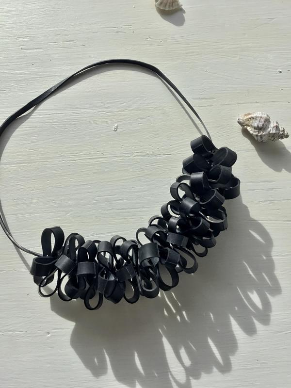 Necklace | handmade |contemporary | jewellery |design| vegan |faux leather |recycled inner tube|