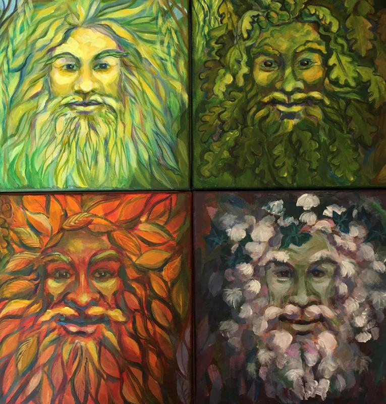 4 Green Men, acrylic on canvases