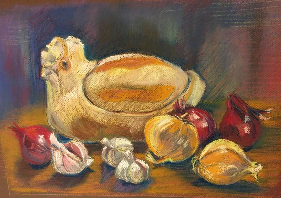 Chicken and onions, pastel on paper