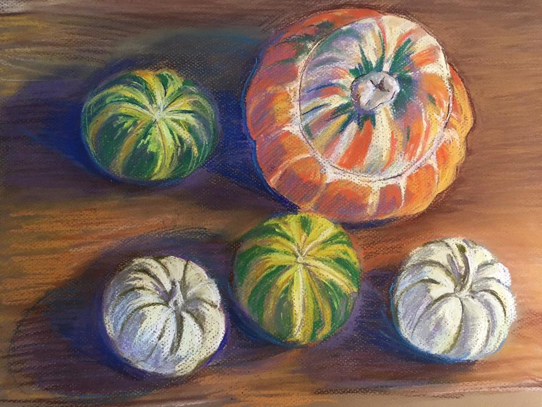 Squashes, pastel on paper