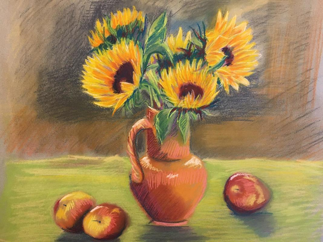 Sunflowers, pastel on paper