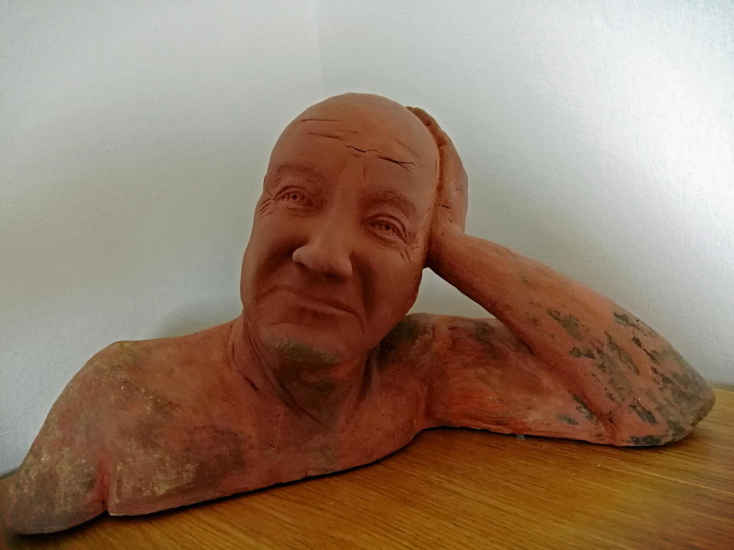 Clay bust of Terry