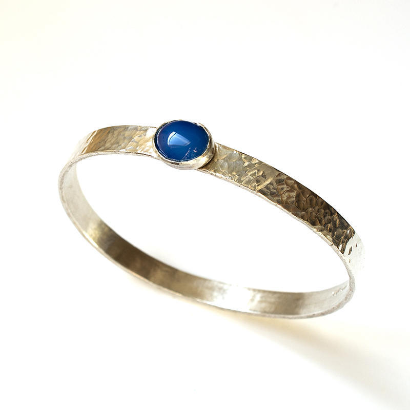 Sterling silver hammered bangle with sea blue agate, £80.00