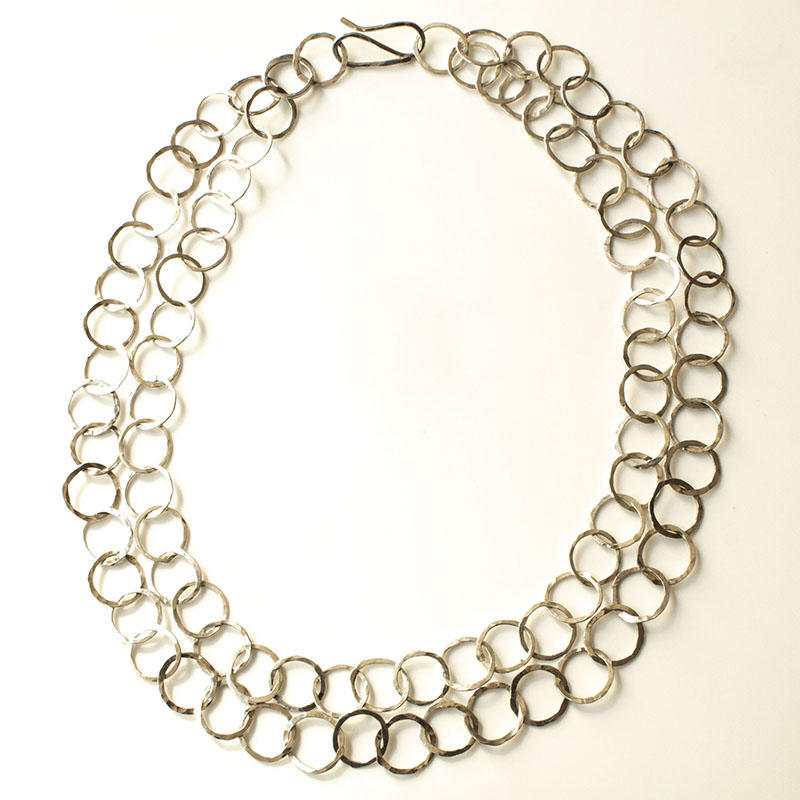 Sterling silver double necklace with round hammered rings, £130
