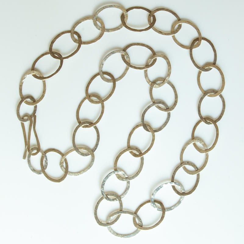 Sterling silver loong chain with hammered ovals, £130