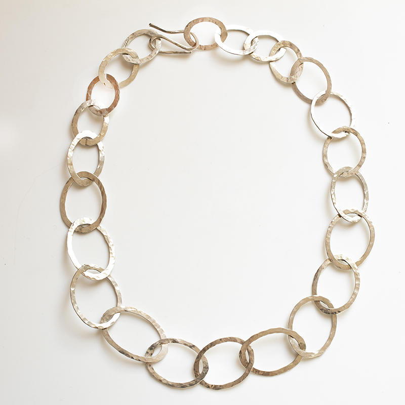 Sterling silver chain with hammered oval rings, £80