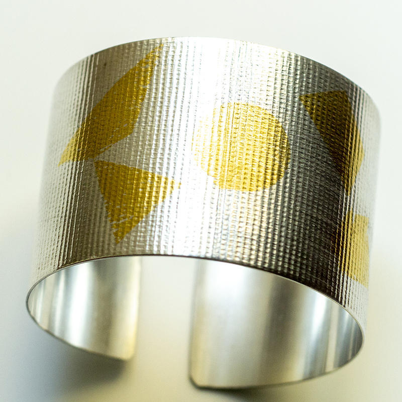 Sterling silver cuff with Keum Boo details, band 40mm, £130wide, £100
