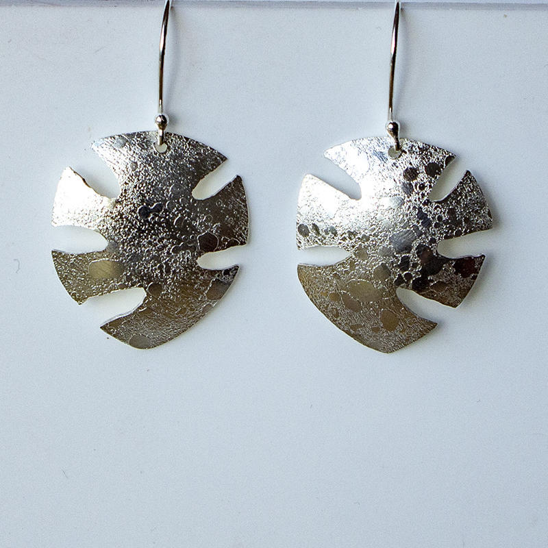 Sterling silver drop earrings with moonscape finish, £45