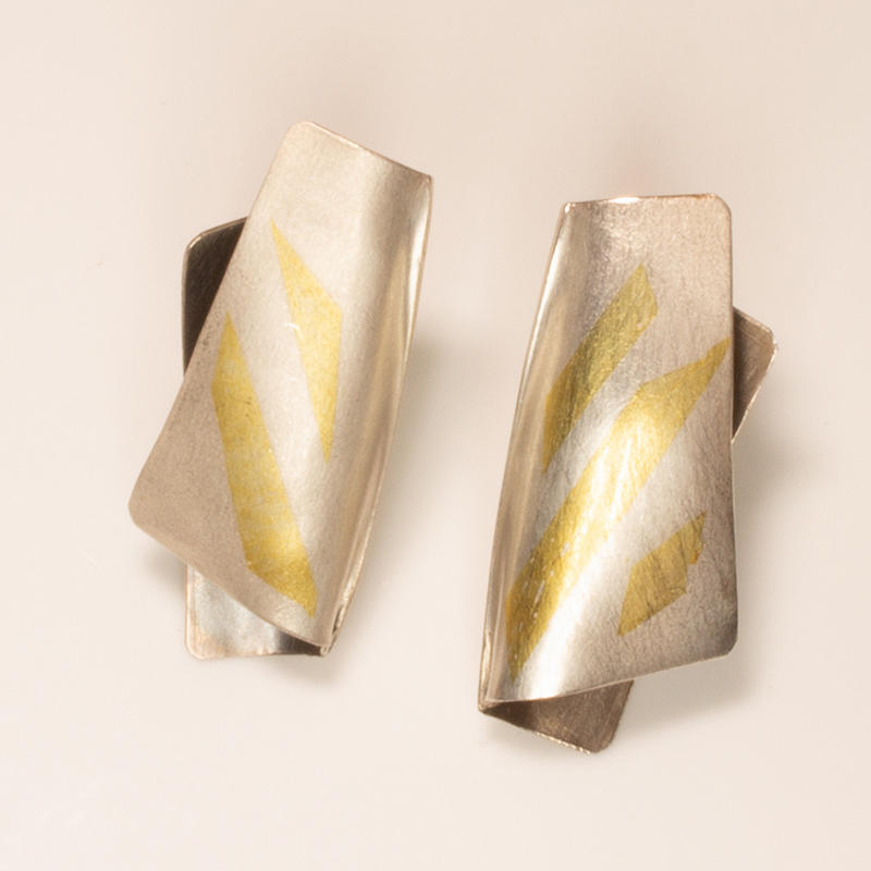"Sterling silver ""Bauhaus"" stud earrings with Keum Boo details, £50.00"
