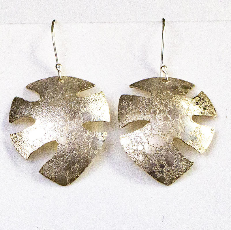 Leaf shape drop earrings, moonscape finish, £45