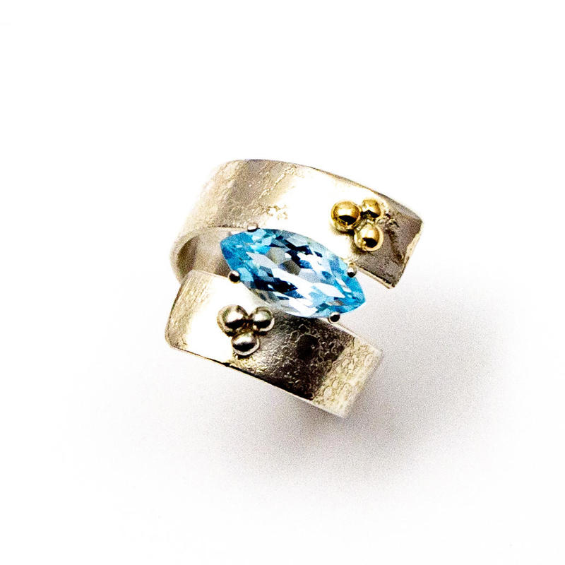 """Dotty"" ring with marquise cut blue topaz, £120, size M"